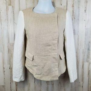 Zara Basic Womens Jacket Beige Woven Faux Flap Pkt